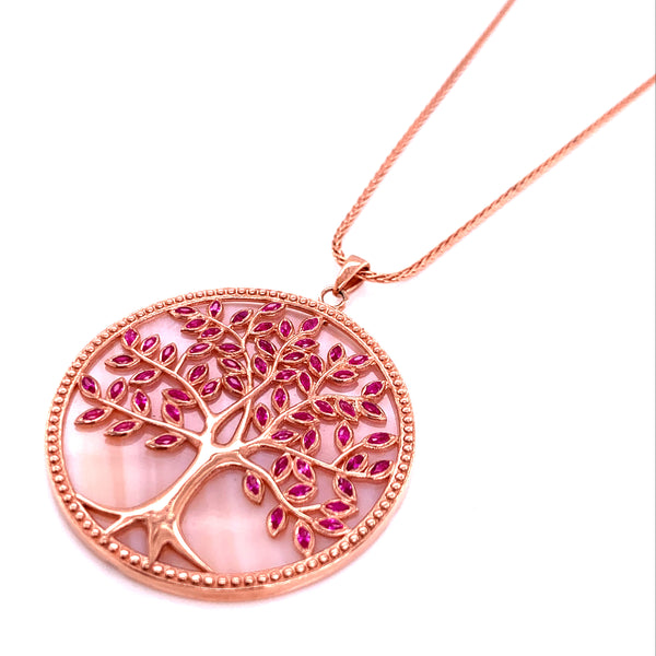 Silver Necklace w/ Life Tree Pendant, MOP + Purple CZ, 70+3cm, Rose Gold Plated
