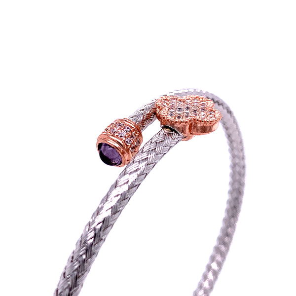Silver Bangle, Weaved,  with Clover and Glass-Stone, CZ, RH+Rose Plated, Size M