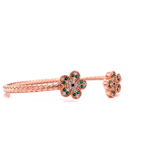 Silver Bangle, Weaved w/ Flowers, White+Green CZ, Rose Plated, Size M