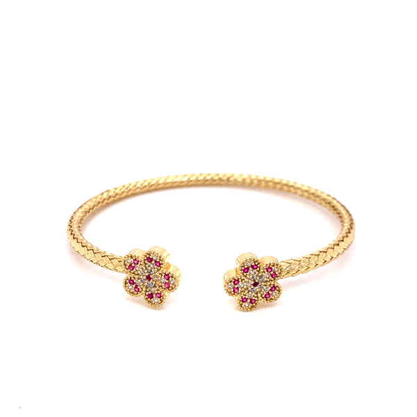 Silver Bangle, Weaved w/ Flowers, White+Red CZ, Gold Plated, Size M