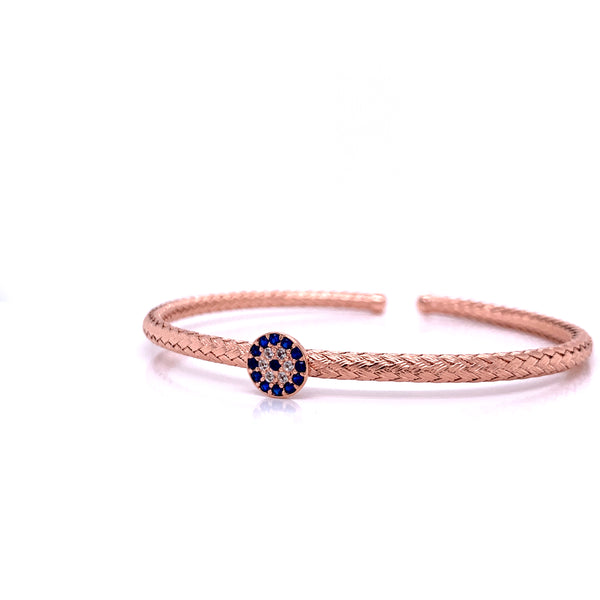 Silver Bangle, Weaved, w/CZ Evil Eye, Rose Gold Plated, Size M
