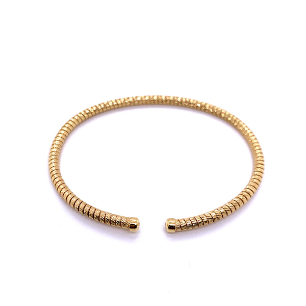 Silver Bangle, DC Tube Gas, 3mm, Gold Plated, Size M