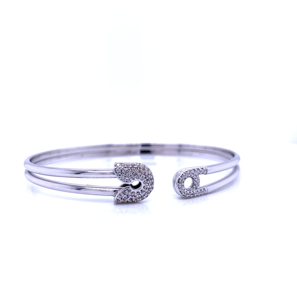 Silver Bangle, Plain Tube, Safety Pin, w/CZ, RH Plated