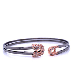 Silver Bangle, Plain Tube, Safety Pin, w/CZ, Black+Rose Plated