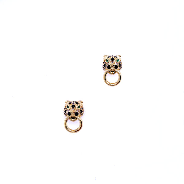Silver Earrings, Leopard w/Black & White CZ (Green Eyes), Gold Plated, 1 Pair