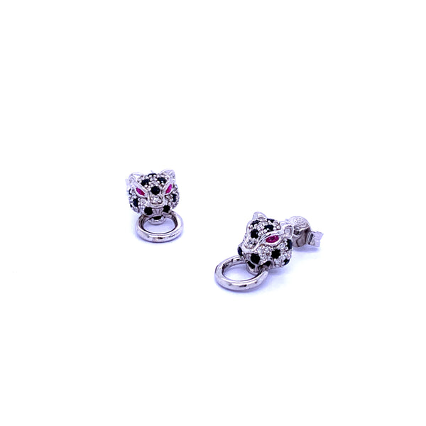 Silver Earrings, Leopard w/Black & White CZ (Red Eyes), Rhodium Plated, 1 Pair