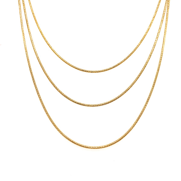Silver Snake Necklace, 3 Layers, DC, Gold Plated, 18