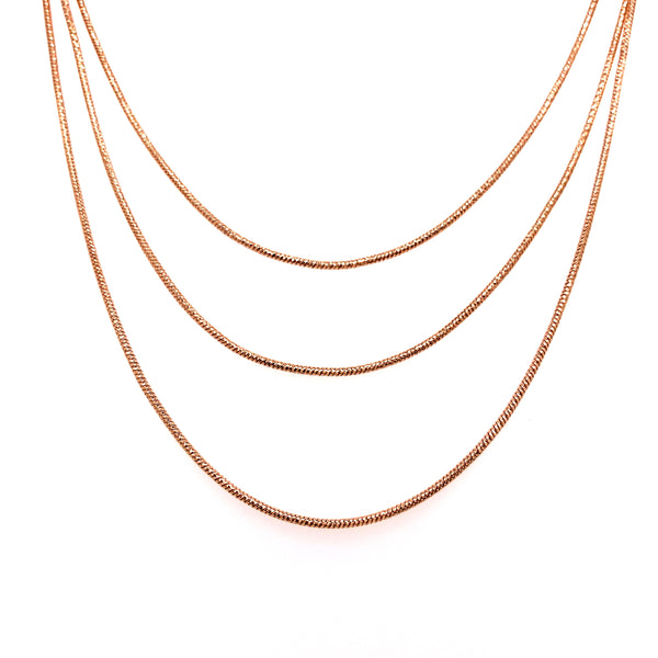 Silver Snake Necklace, 3 Layers, DC, Rose Gold Plated, 18