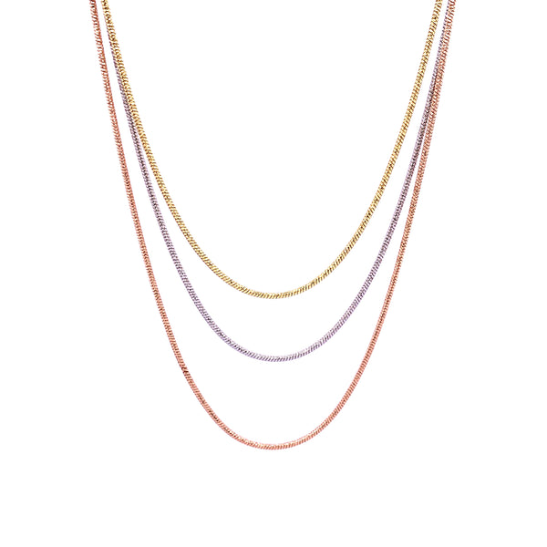 Silver Snake Necklace, 3 Layers, DC, Pt+Gold+Rose Plated, 18