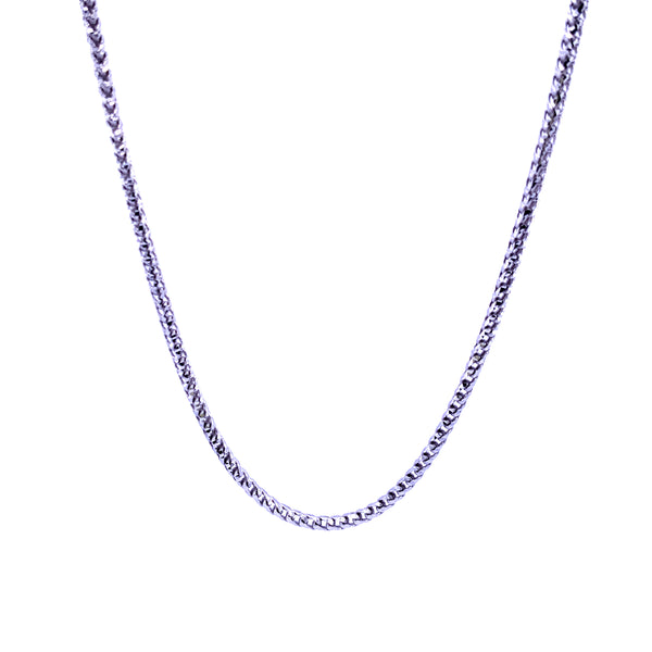 Silver Round Franco Necklace, DC, 1.9mm, Rhodium Plated, 18