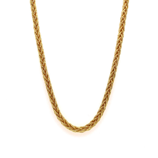 Silver Braided Snake Necklace, DC, 8 Lines, 3mm, Square, Gold Plated, 16