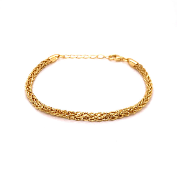 Silver Braided Snake Bracelet, DC, 8 Lines, 3mm, Square, Gold Plated, 16+3 cm, AT