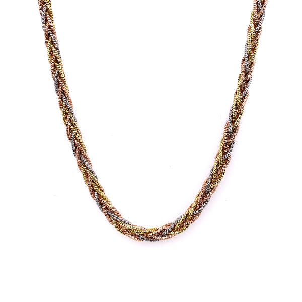 Silver Braided Snake Necklace, DC, 8 Lines, 3mm, Square, Rhodium+Gold+Rose Plated, 16