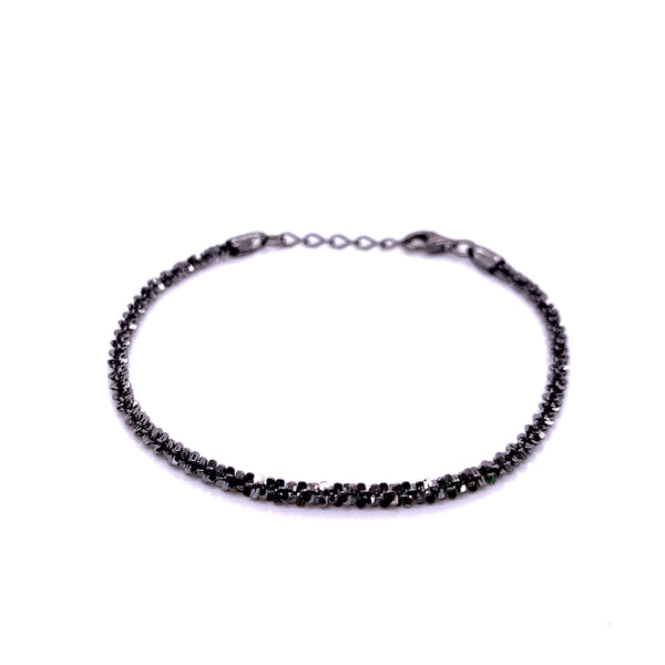 Silver Rock Chain Bracelet, 050, D/C, Gun Metal Colour, 16+2.5cm