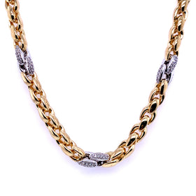 Silver Fancy Hollow Chain, Necklace, Gold+Rh, 45cm, 925 Italy Stamp
