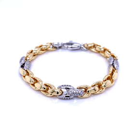 Silver Fancy Hollow Chain, Bracelet, Gold+Rh, 925 Italy Stamp