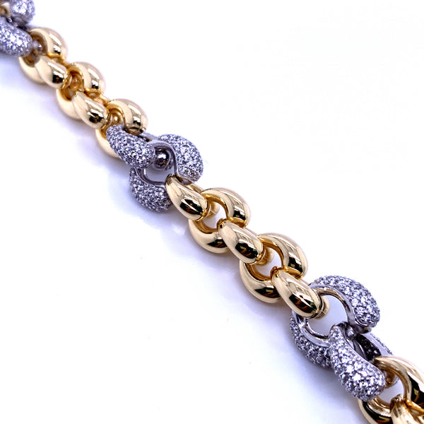 Silver Fancy Hollow Chain, Bracelet, Gold+Rh, 18.5cm, 925 Italy Stamp