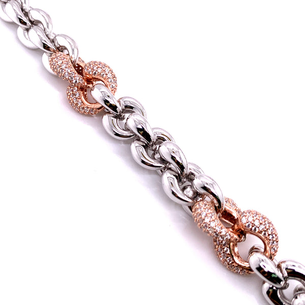 Silver Fancy Hollow Chain, Necklace, Rhodium+Rose, 45cm, 925 Italy Stamp