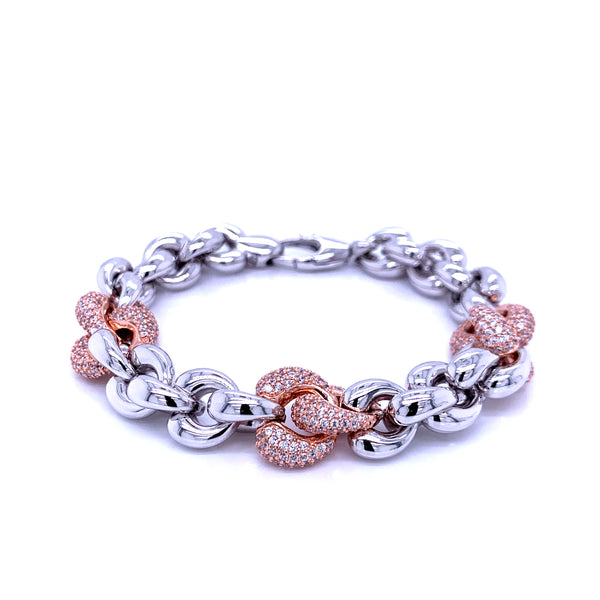 Silver Fancy Hollow Chain, Bracelet, Rh+Rose, 18.5cm, 925 Italy Stamp