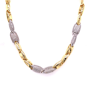 Silver Fancy Hollow Chain, Necklace, Gold+Rhodium, 43cm, 925 Italy Stamp