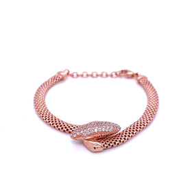 Silver Bracelet w/Oval Shaped CZ Embellishment, 16+3cm, Rose Gold Plated