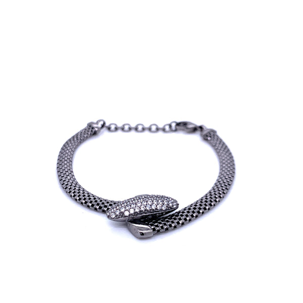 Silver Bracelet w/Oval Shaped CZ Embellishment, 16+3cm, Ruthenium Plated