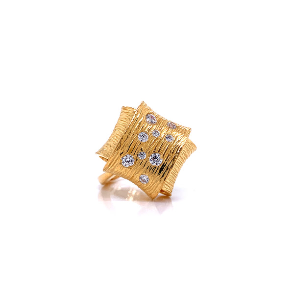 Silver Ring, Folded w/CZ, Size 6, Open Shank, Gold Plated
