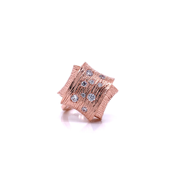 Silver Ring, Folded w/CZ, Size 6, Open Shank, Rose Gold Plated