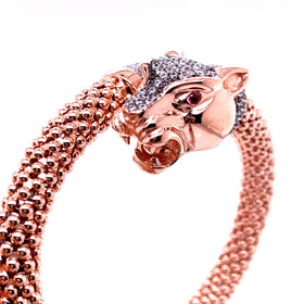 Silver Bangle, Popcorn, Leopard + Paw, w/CZ. Rose+RU Plated
