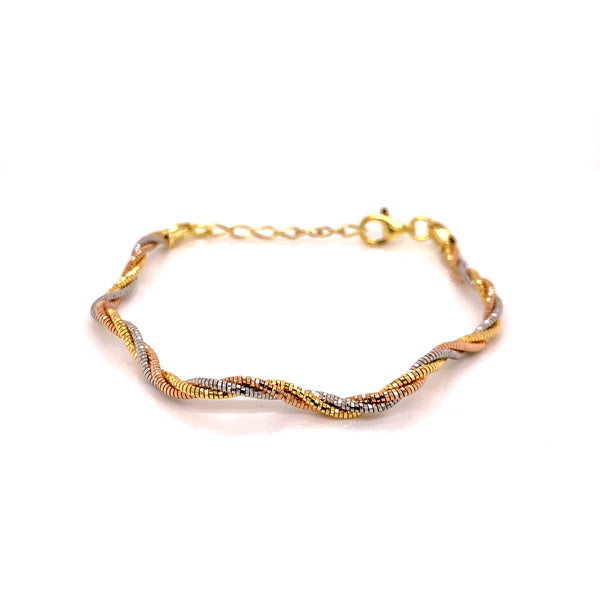 Silver Spring Omega Bangle, Wavy, Twisted, 1.3mm x3, 16cm + 3cm Ext, RH+Gold+Rose Gold Plated, AT