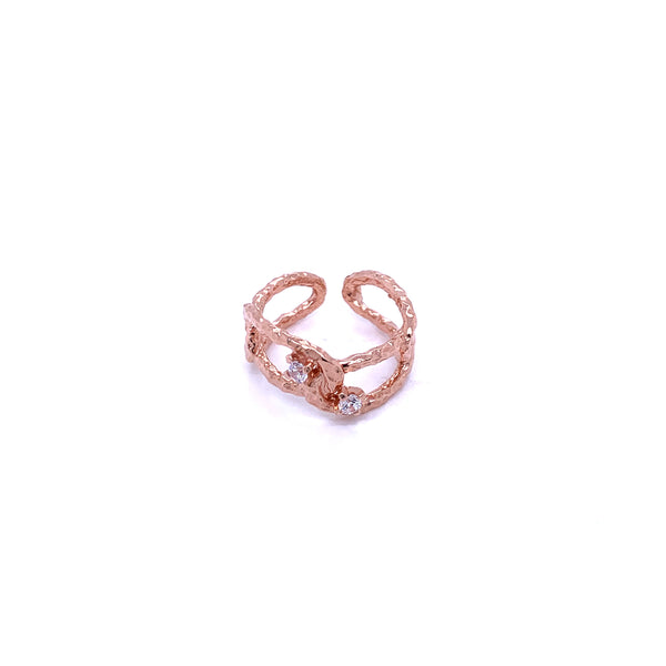 Silver Ring, Links w/CZ, Size 6, Open Shank, 1 Mic Rose Gold Plated