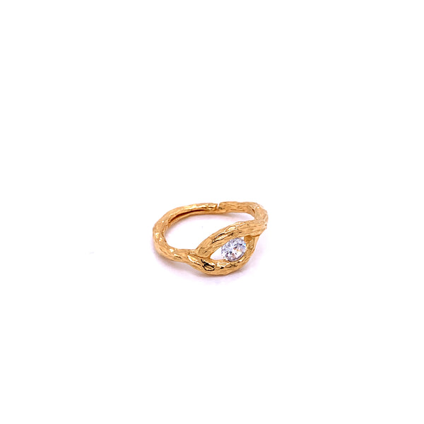 Silver Ring, Eye w/CZ, Size 6, Open Shank, 1 Mic Gold Plated