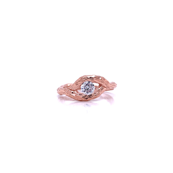 Silver Ring, Eye w/CZ, Size 6, Open Shank, 1 Mic Rose Gold Plated