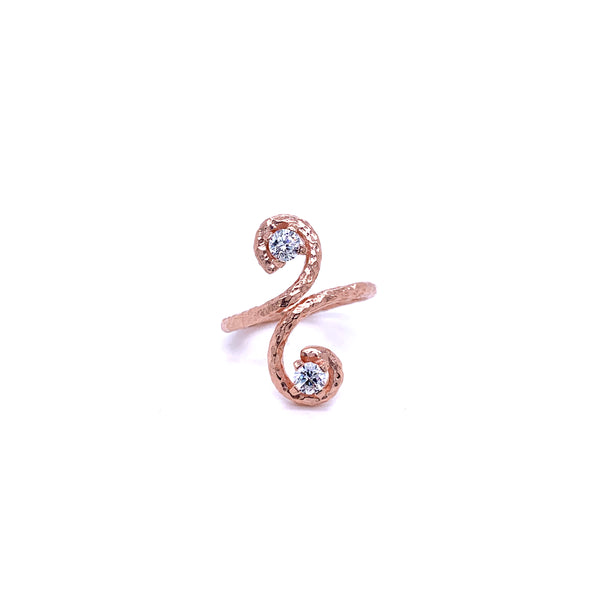 Silver Ring, Fern w/CZ, Size 6, Open Shank, 1 Mic Rose Gold Plated