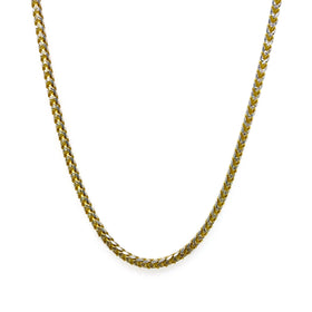 Silver Franco Necklace, Paved, 1.9mm, Gold + RH Plated, 18