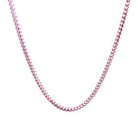 Silver Franco Necklace, Paved, 1.9mm, Rose Gold + RH Plated, 18