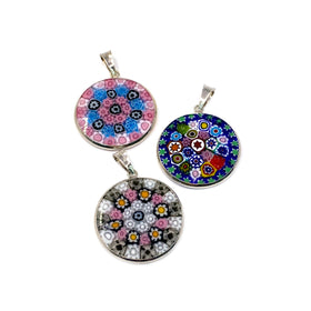 Murano Glass Murrine with Silver Grommet,  Mix Style, 23mm, Pendant, RH Plated