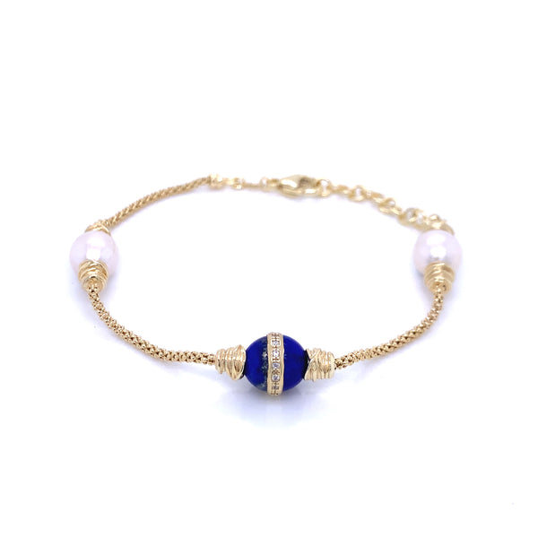 Silver Popcorn Bracelet, with Pearl & CZ Lapis, 16cm + 3cm Extension, Gold Plated