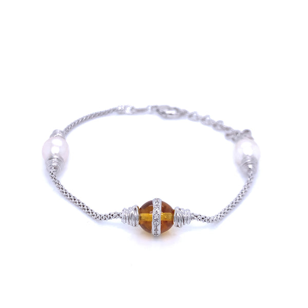 Silver Popcorn Bracelet, with Pearl & CZ Citrine, 16cm + 3cm Extension, Rhodium Plated