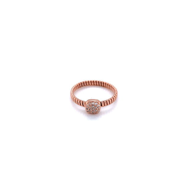 Silver Ring, Flat Gas Tube, Square with CZ, Rose Gold Plated
