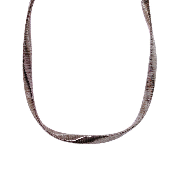 Silver Spiral Necklace, 5mm Twist , 40+5cm, Rhodium Plated