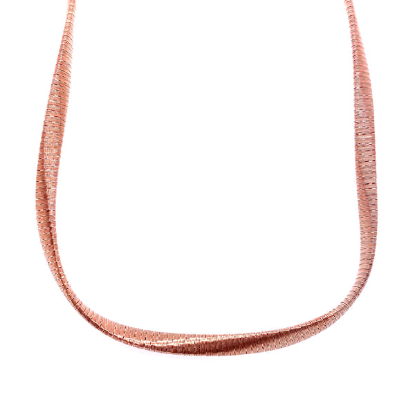 Silver Spiral Necklace, 5mm Twist , 40+5cm, Rose Gold Plated, AT