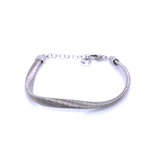 Silver Spiral Bracelet, 5mm Twist , 16+3cm, Rhodium Plated
