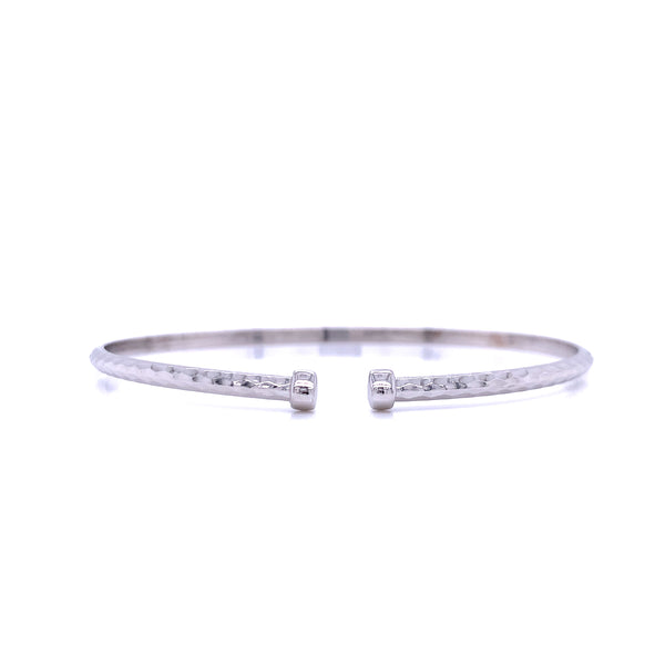 Silver Flex Bangle, Half-Round, Hammered, 18.5cm, Rhodium Plated