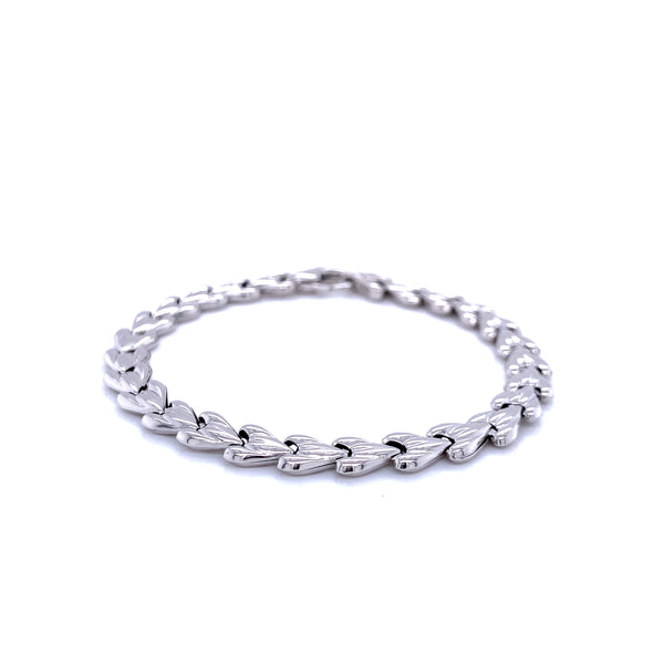 Silver Bracelet, Heart Chain, 17.5cm, Rhodium Plated