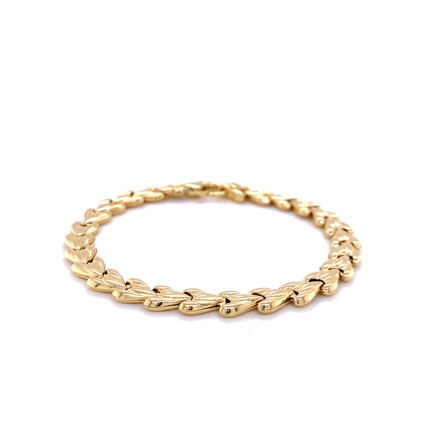 Silver Bracelet, Heart Chain, 17.5cm, Gold Plated