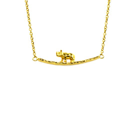 Silver Necklace, Rhino on Bar, 42+5cm Ext, Gold Plated (1 mic)