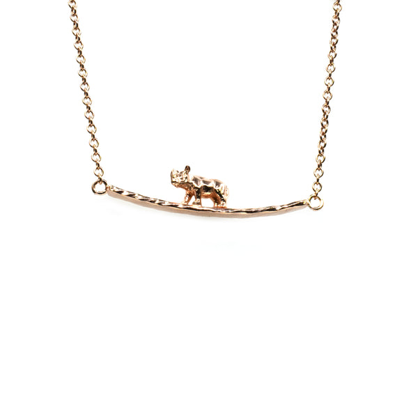 Silver Necklace, Rhino on Bar, 42+5cm Ext, Rose Gold Plated (1 mic)