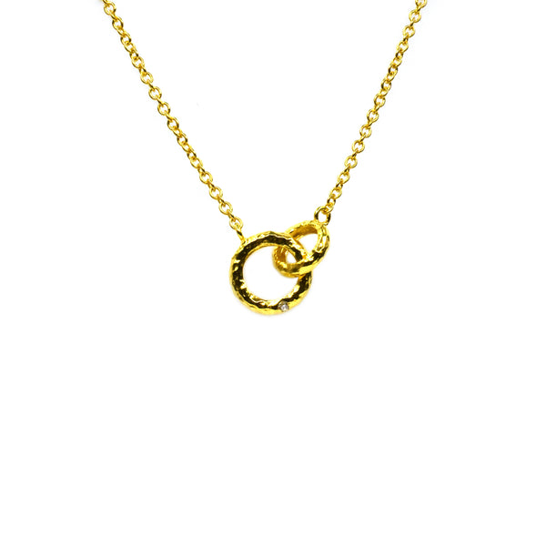 Silver Necklace, Connecting Rings w/CZ, 42+5cm Ext, Gold Plated (1 mic)
