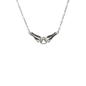 Silver Necklace, Holding Hands, 42+5cm Ext, RH Plated